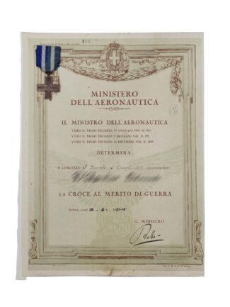 Diploma firmato Italo Balbo - Croce aeronautica - Africa