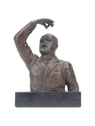Benito Mussolini parla alle camere - Mezzobusto in bronzo